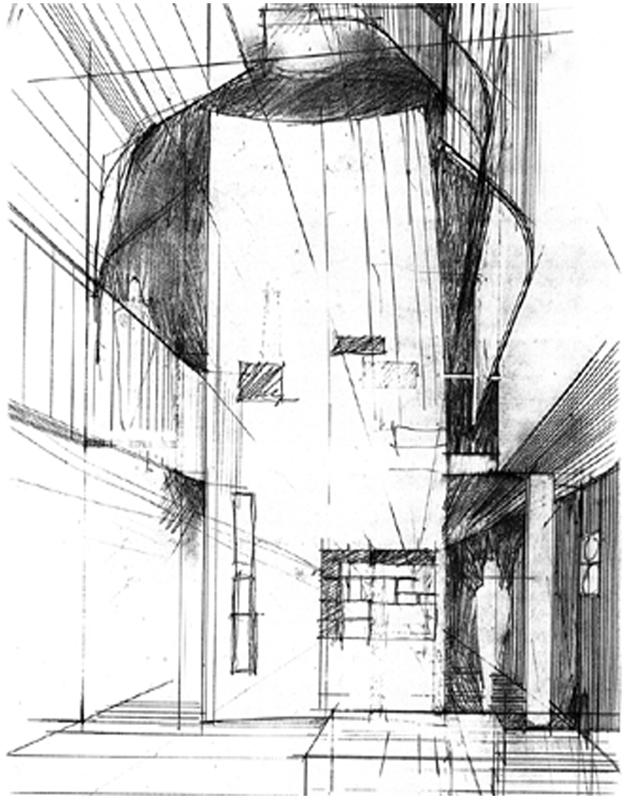 透视剖面图 section perspective-雕刻家公寓(Residence for a Sculptor)第22张图片