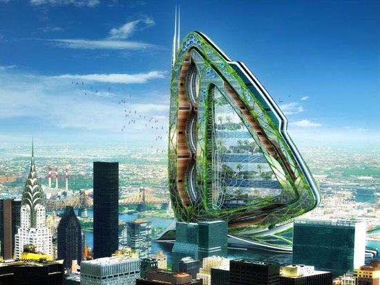 纽约农场住所多元摩天大楼概念设计——垂直的蜻蜓