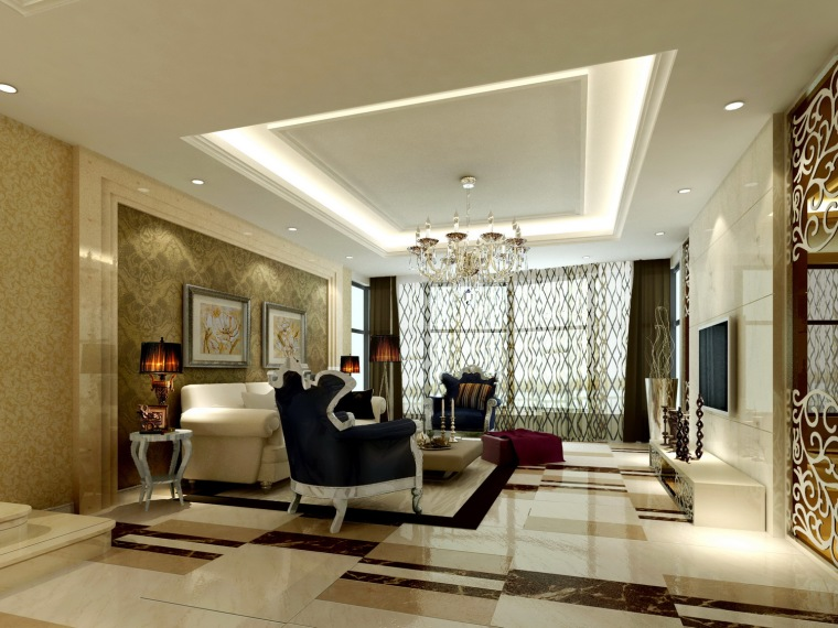 欧式水晶吊灯资料下载-居室设计--欧式001