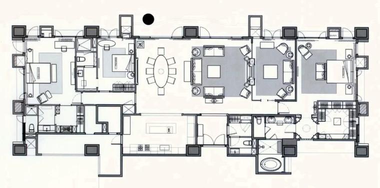 居室设计--元大建设一品苑150平方米样品屋台北第18张图片