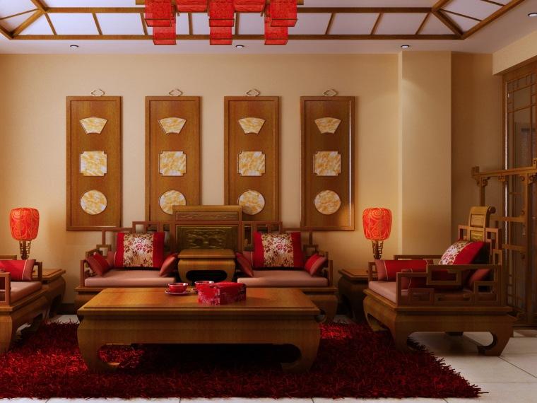中式三居室效果图第2张图片