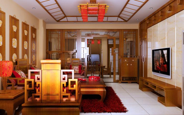 中式三居室效果图第3张图片