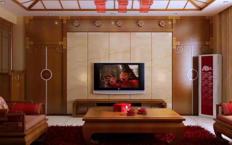 中式三居室效果图第4张图片