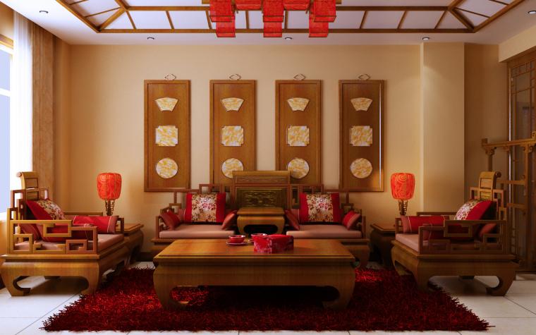 中式三居室效果图第5张图片