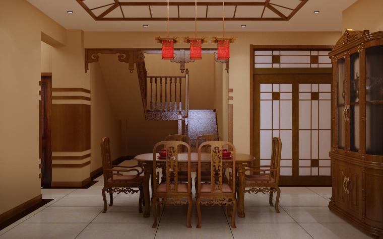 中式三居室效果图第7张图片