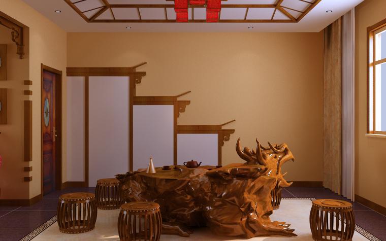 中式三居室效果图第10张图片