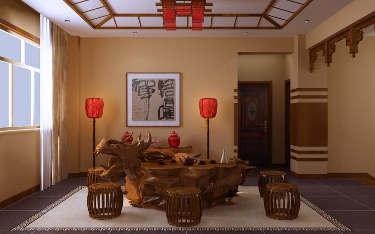 中式三居室效果图第11张图片