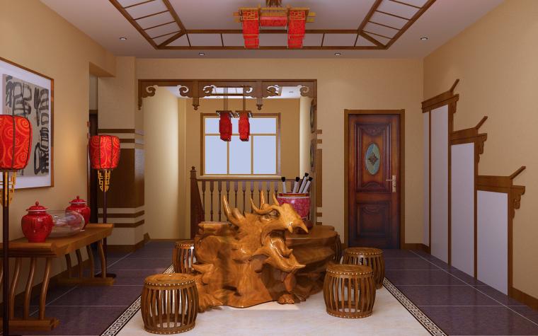中式三居室效果图第12张图片