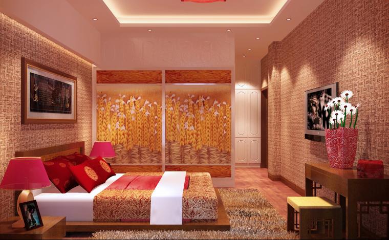 中式三居室效果图第13张图片