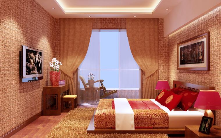 中式三居室效果图第14张图片