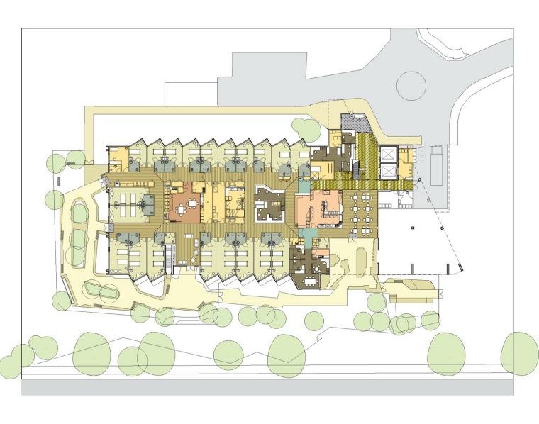 首层平面图 ground floor plan-莫宁顿中心(养老院)第10张图片