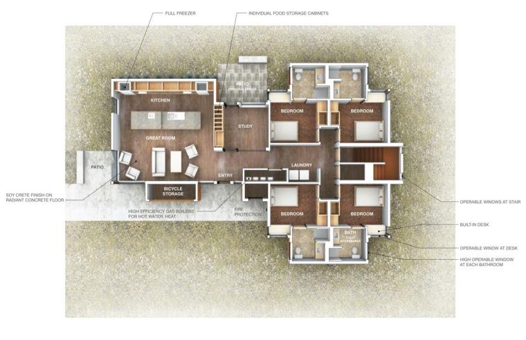平面图 floor plan-巴斯蒂尔大学学生公寓第11张图片