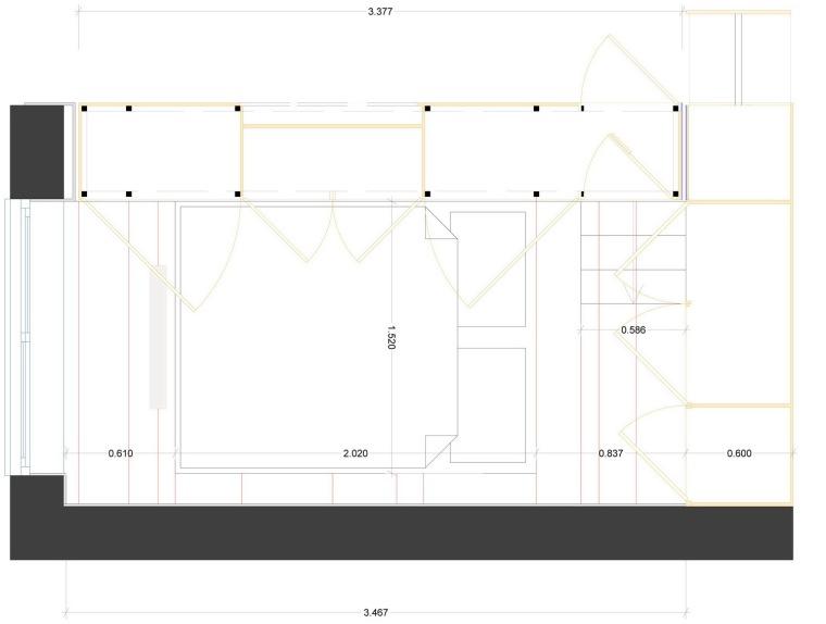 卧室细节平面图 bedroom detail -壁橱住宅第14张图片