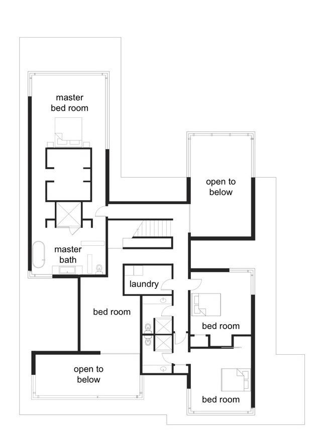 二层平面图 second floor plan-黑白住宅第16张图片