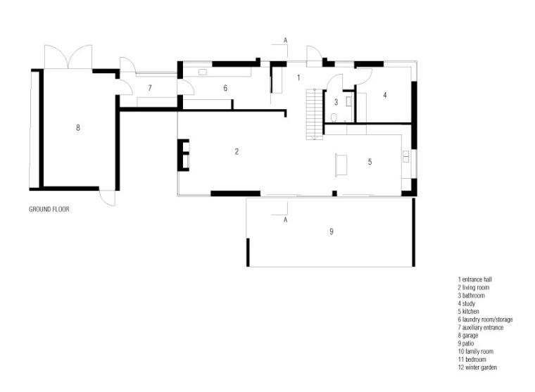 首层平面图 plan ground floor-利马别墅第21张图片