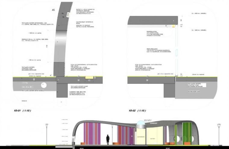 剖面图&细节 section & -Park+Ride公车站第11张图片