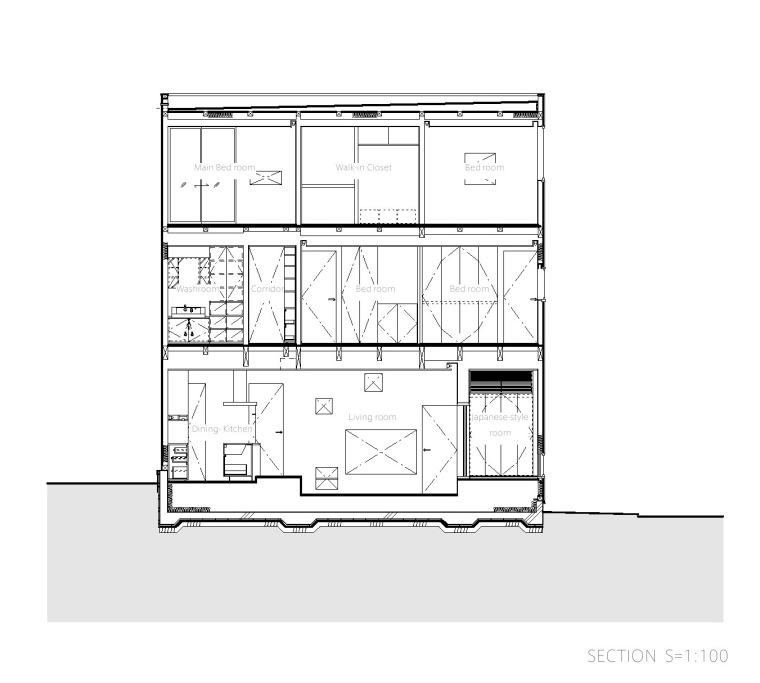 剖面图01 Section01-Togoshi住宅第24张图片