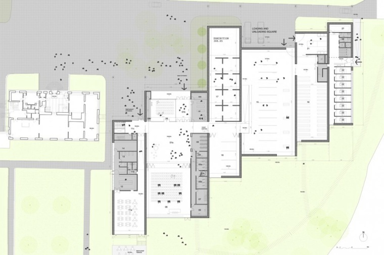 平面图 floor plan-Serlachius博物馆扩建方案第13张图片