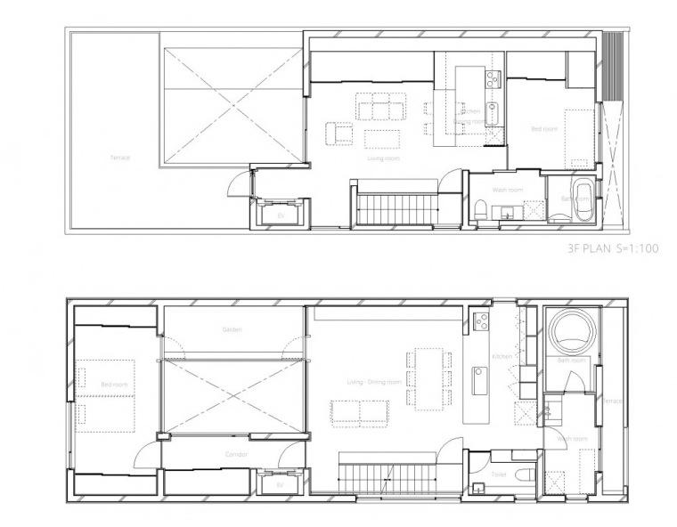 平面图01 Plans01-中野三重宅第17张图片