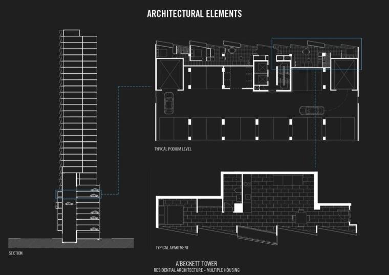 剖面图&平面图 Section &amp-A'Beckett大厦第14张图片