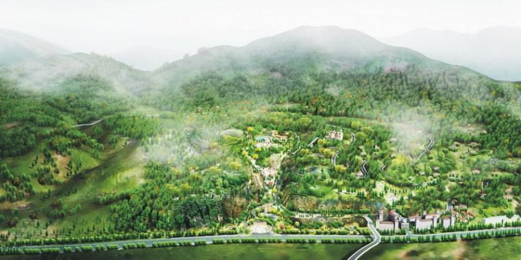 公园大鸟瞰效果图-昆明翠峰城市生态公园景观规划第3张图片