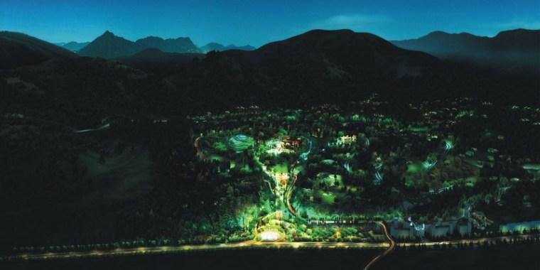 公园夜景效果图-昆明翠峰城市生态公园景观规划第4张图片
