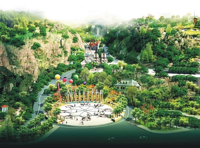 公园西向鸟瞰效果图-昆明翠峰城市生态公园景观规划第5张图片