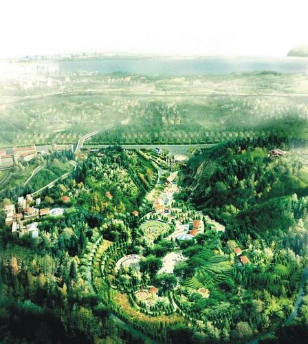 公园东向鸟瞰效果图-昆明翠峰城市生态公园景观规划第6张图片