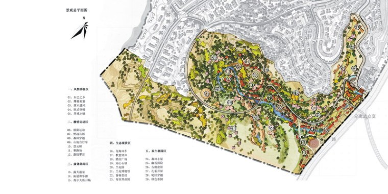 景观设计总平面图-昆明翠峰城市生态公园景观规划第8张图片