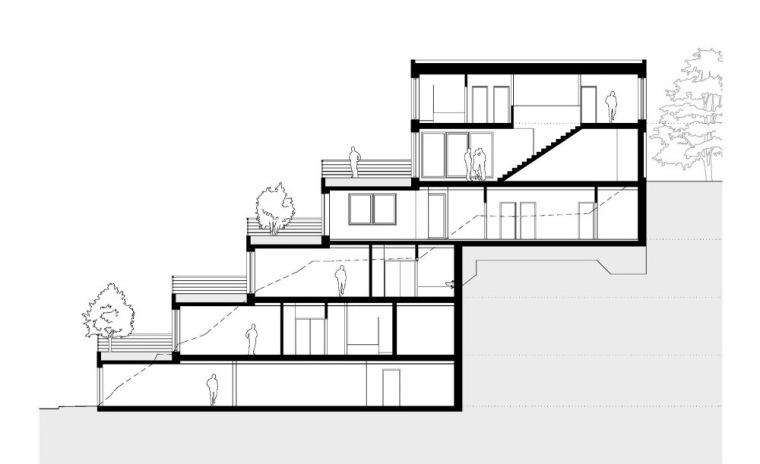 剖面图 Section-阶梯住宅第16张图片