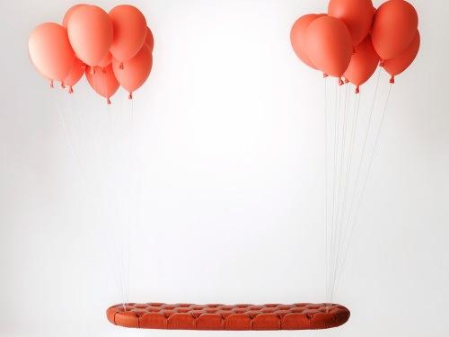 悬浮的气球长凳和气球灯泡第1张图片