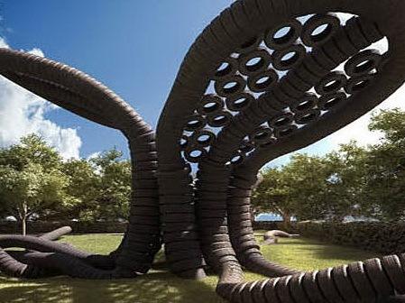轮胎打造的橡胶树