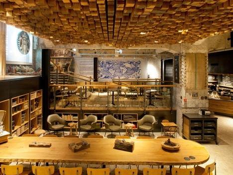 银行地下室改建为咖啡店