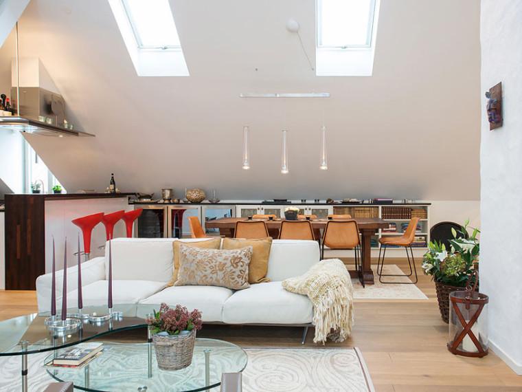 斯德哥尔摩明亮的阁楼式公寓