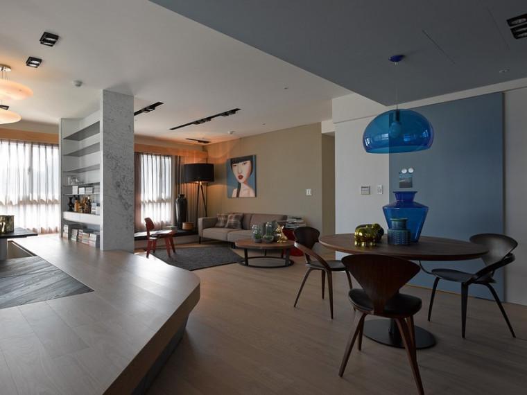 台湾定制家具元素的非传统公寓