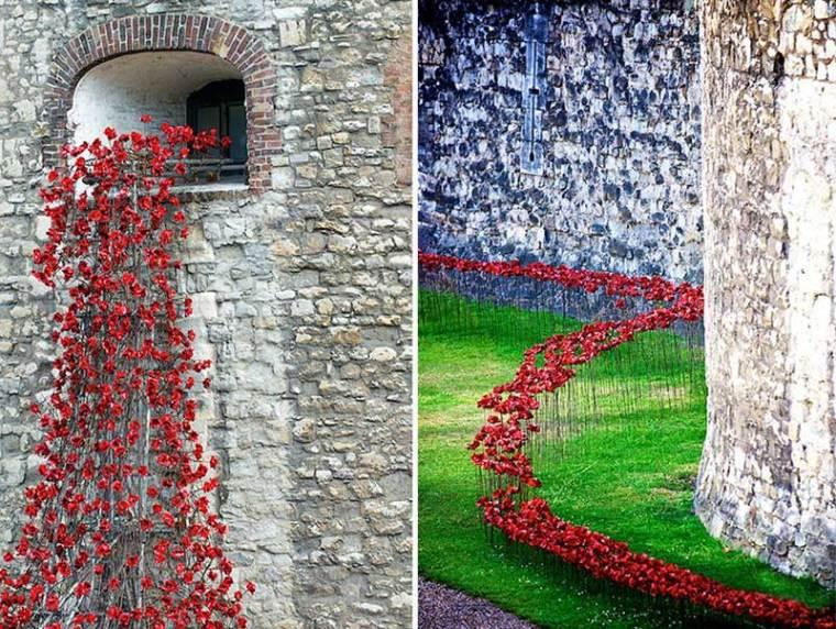 英国伦敦塔的红色罂粟花海外部细-英国伦敦塔的红色罂粟花海第10张图片
