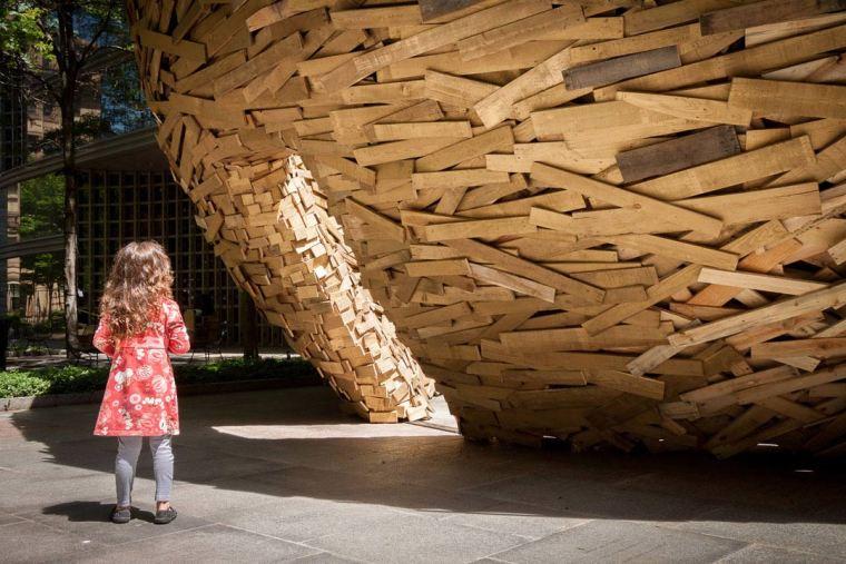 美国纽约木板鸟巢外部局部实景图-美国纽约木板鸟巢第4张图片