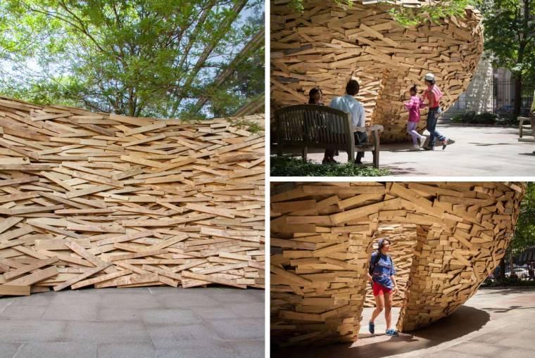 美国纽约木板鸟巢外部细节实景图-美国纽约木板鸟巢第7张图片