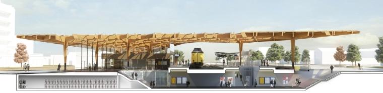 荷兰阿森火车站改建剖面图-荷兰阿森火车站改建第8张图片