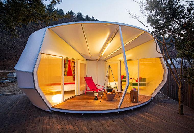 韩国奢华露营帐篷外部夜景实景图-韩国奢华露营帐篷第7张图片