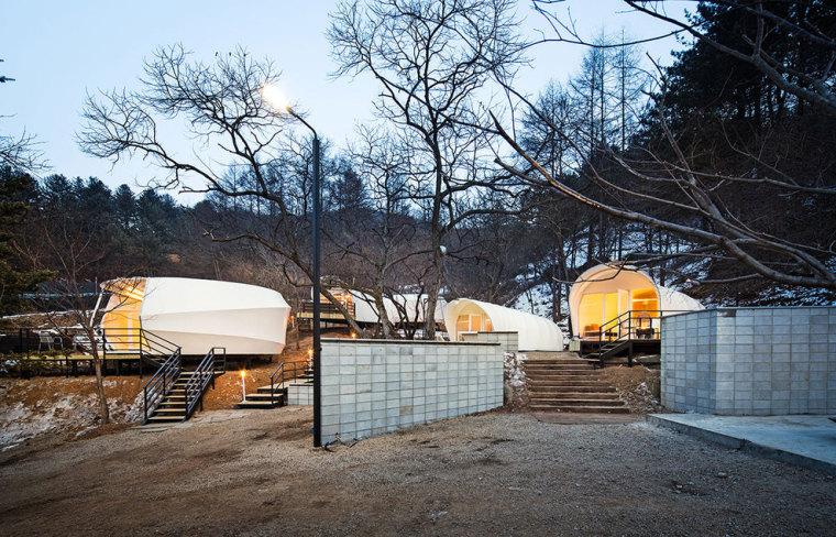 韩国奢华露营帐篷外部夜景实景图-韩国奢华露营帐篷第8张图片