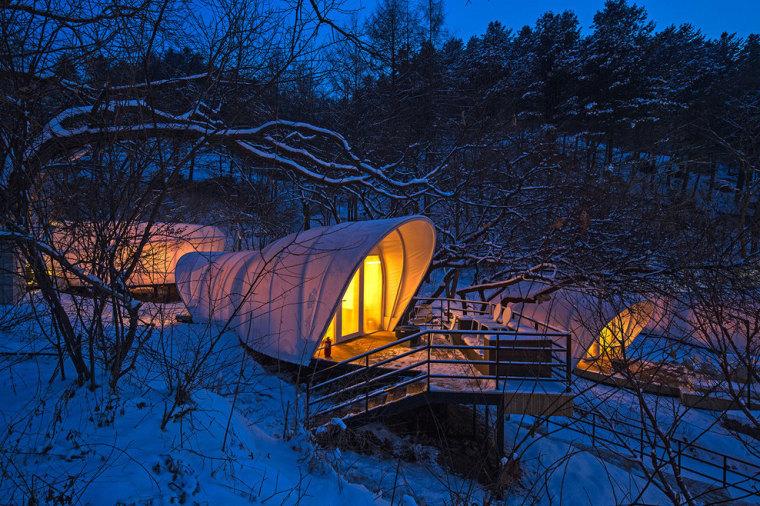 韩国奢华露营帐篷外部夜景实景图-韩国奢华露营帐篷第13张图片