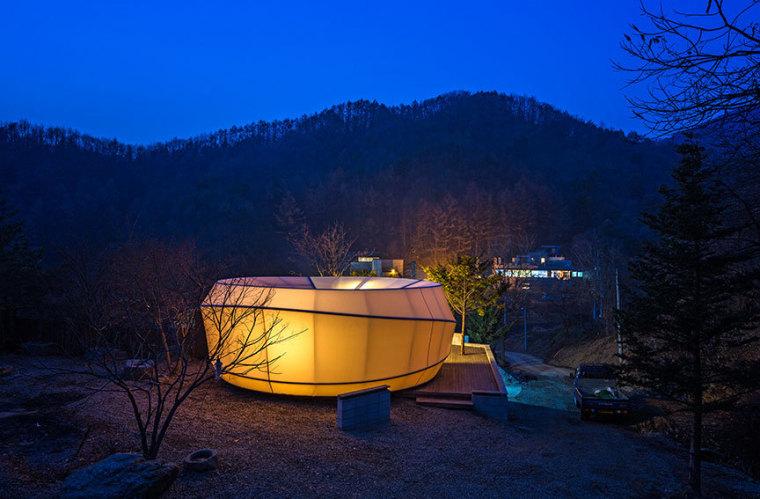 韩国奢华露营帐篷外部夜景实景图-韩国奢华露营帐篷第10张图片