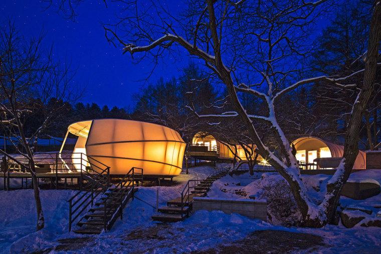 韩国奢华露营帐篷外部夜景实景图-韩国奢华露营帐篷第9张图片