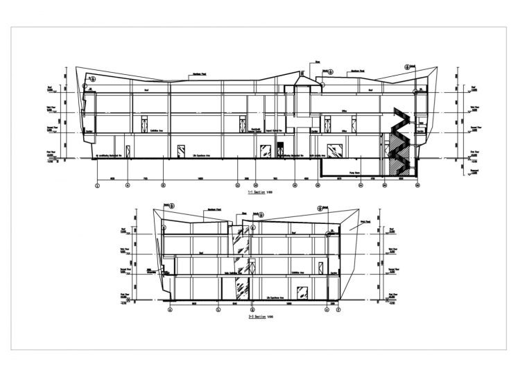 河南郑州万科城售楼中心改造剖面-河南郑州万科城售楼中心改造第12张图片