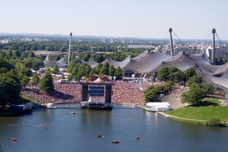 慕尼黑奥林匹克体育场外部实景图-慕尼黑奥林匹克体育场第2张图片