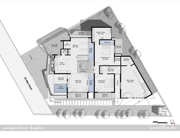 印度班加罗尔四合院住宅平面图-印度班加罗尔四合院住宅第12张图片