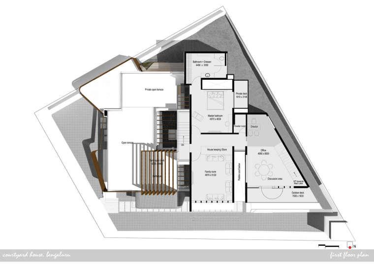 印度班加罗尔四合院住宅平面图-印度班加罗尔四合院住宅第13张图片