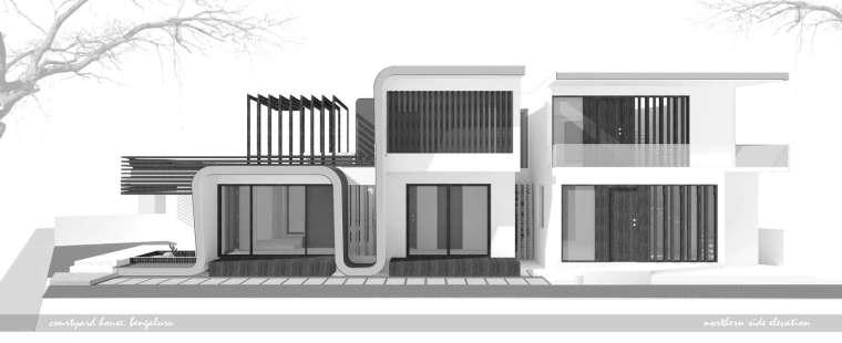 印度班加罗尔四合院立面图-印度班加罗尔四合院住宅第14张图片