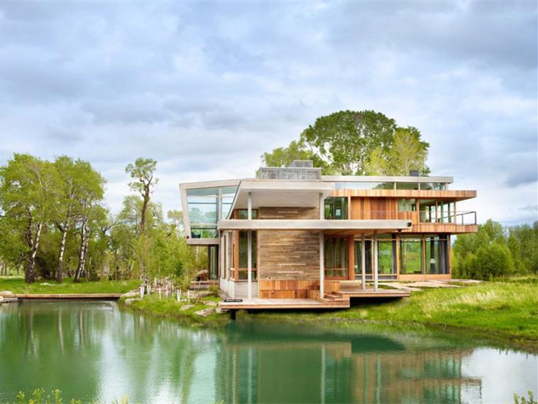 美国蒙大拿州滨河住宅景观